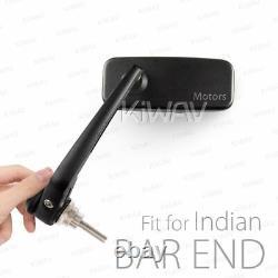 Bar end mirror Classic rectangular black convex pair fits Indian Scout Bobber