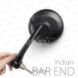 Bar end mirror Retro round black aluminum fits Indian Scout Bobber motorcycle