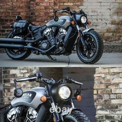 Bar end mirror Retro round black old-school style for custom Indian Scout Bobber