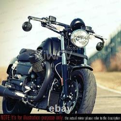 Bar end mirrors BOB round black fits Moto Guzzi V7 III Racer threaded OEM bar