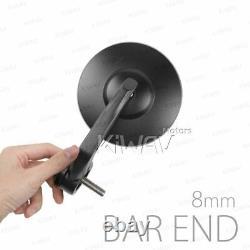 Bar end mirrors BOB round black short 8mm bolt fits Indian FTR 1200 Springfield