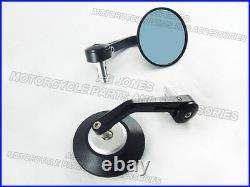 Bar end mirrors black/silver cnc alloy over under design