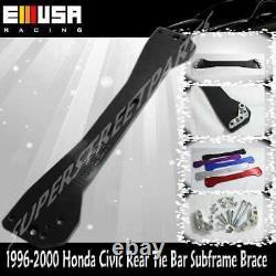 EMUSA BLACK Rear Lower Control Arm+Subframe Brace+Tie Bar FOR 96-00 Honda Civic