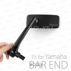 KiWAV Black Motorcycle Bar End Mirrors Classic for 2014- Yamaha FZ-09 (MT-09)