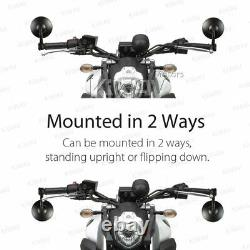 KiWAV Motorcycle Bar End Mirrors Bob Black for Kawasaki Z900RS ZR900 2018-2019