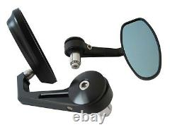 Motorcycle Handle Bar End Mirrors Side Rear View Cafe Racer Streetfighter PAIR