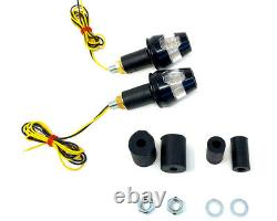 Motorcycle LED Indicators Handle Bar End for 22mm, 25mm, 28mm HOMOLOGATED PAIR