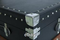 New Black Crocodile Leather Coffee End Table and Wine Bar Trunk with Sliding Top