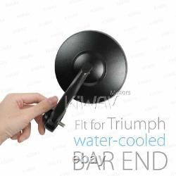 Retro round bar end mirror BOB black for Triumph Bonneville 18'- Speed Triple RS
