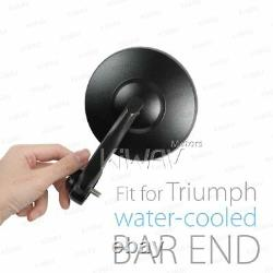 Retro round bar end mirrors BOB black aluminum fits Triumph 16- Street Twin