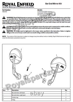 Royal Enfield Bar End Mirror Homologated For Continental GT 650