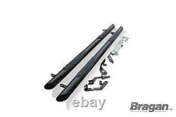 Side Bars For Citroen Berlingo 2019+ 4 Pads Tapered End Step Tubes 3 BLACK